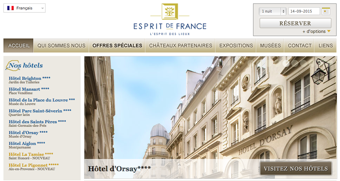 Le groupe hôtelier Esprit de France nous confie la traduction de son site internet en 7 langues.